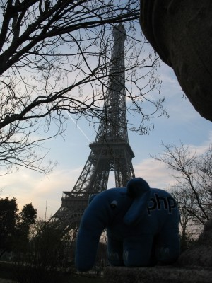 ElePHPant playing near the Eiffel Tower